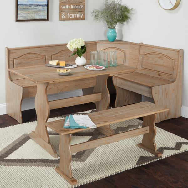 3 Pc Rustic Wooden Breakfast Nook Dining Set Corner Booth