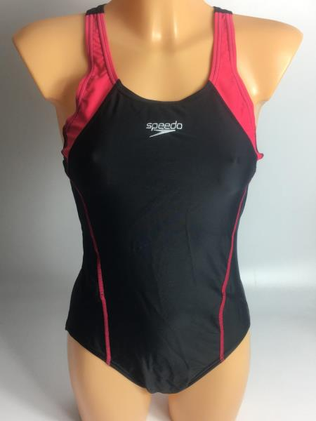 Details about WOMEN'S SPEEDO BLACK & RED SWIMMING COSTUME UK 40