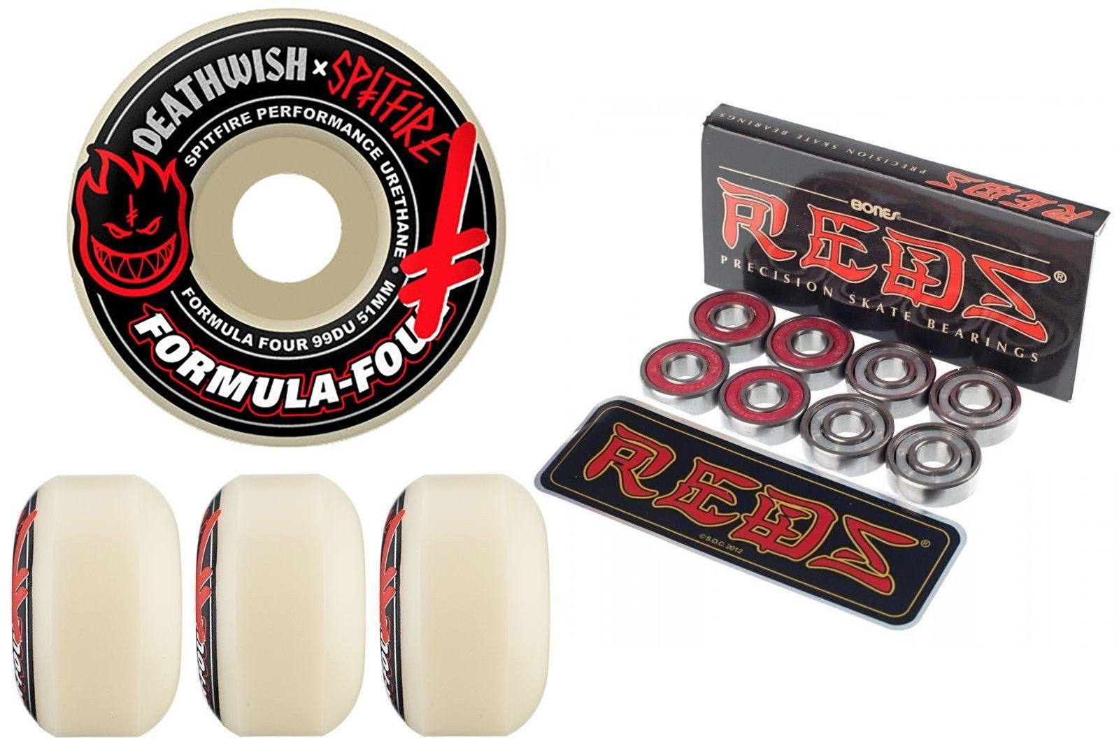 Spitfire Wheels Deathwish Skateboards 51mm F4 Formula Four plus free Bones Reds Bearings FREE POST