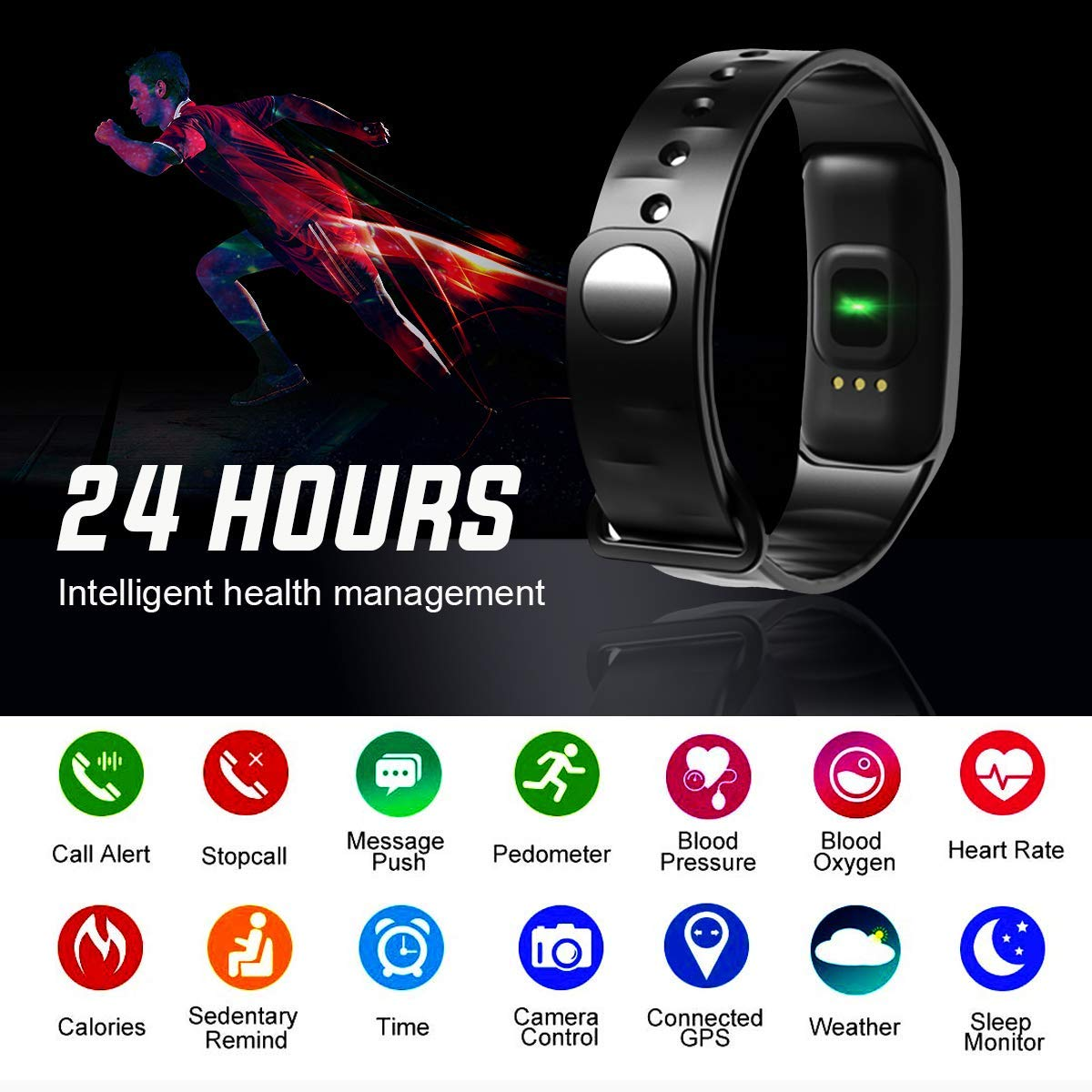 Details about Black Fitness Tracker Smart Tracking Watch Sports Pedometer  Bluetooth Wristband