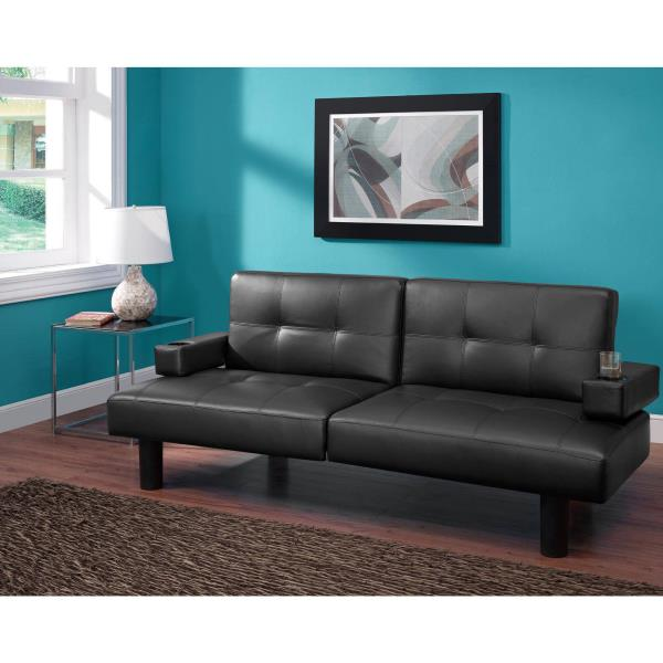 convertible sectional sleeper sofa black leather modern loveseat chair couch - Black Leather Loveseat