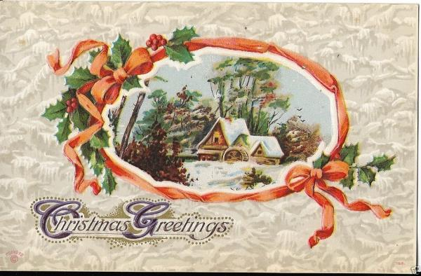 early christmas card winter cottage scene early 1900s | eBay