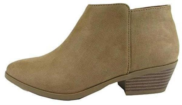 Breckelles Women Amber-31 Faux Suede Peep Toe Chunky Stacked Heel Olive Bootie