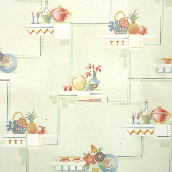 1940s Kitchen Vintage Wallpaper Red Yellow Blue Vases On Green Ebay