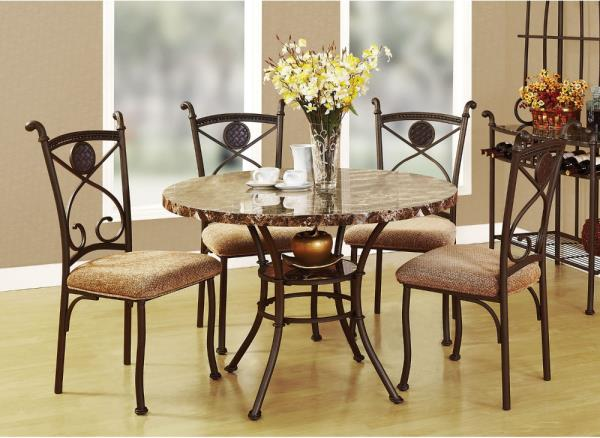 5 Piece Round Dining Set 4 Chairs Metal Frames Faux Marble Top Table Furniture