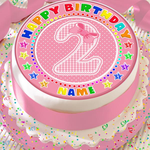 HAPPY 2ND BIRTHDAY AGE 2 PINK BOW 75 INCH PRECUT EDIBLE CAKE TOPPER DECORATION