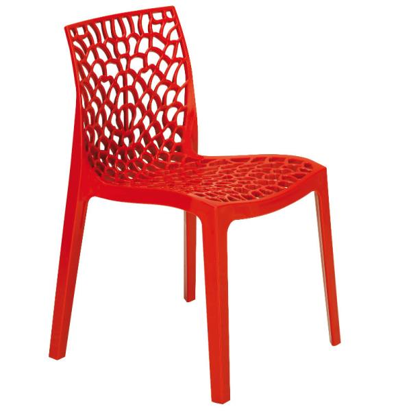 Beau Neptune Polypropylene Red Stacking Side Chair (NC 001GY)