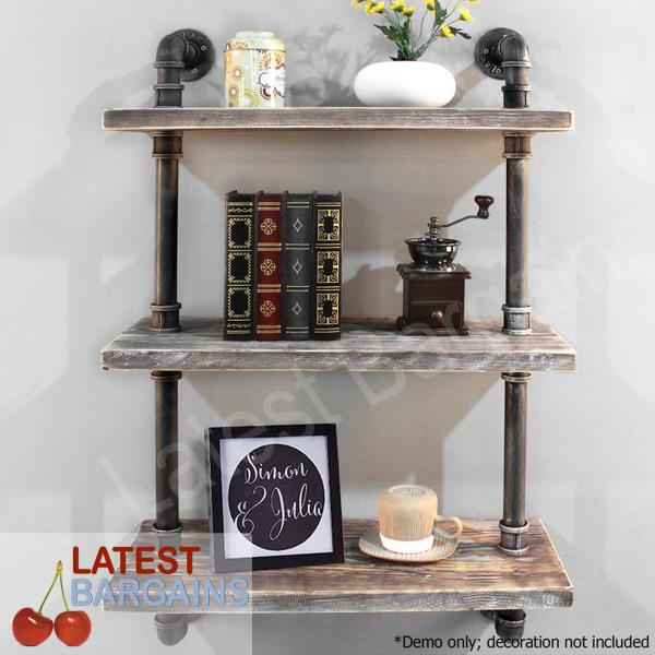 Details About 3 Level Wall Shelf Bookshelf Industrial Diy Floating Pipe Metal Wooden Rustic