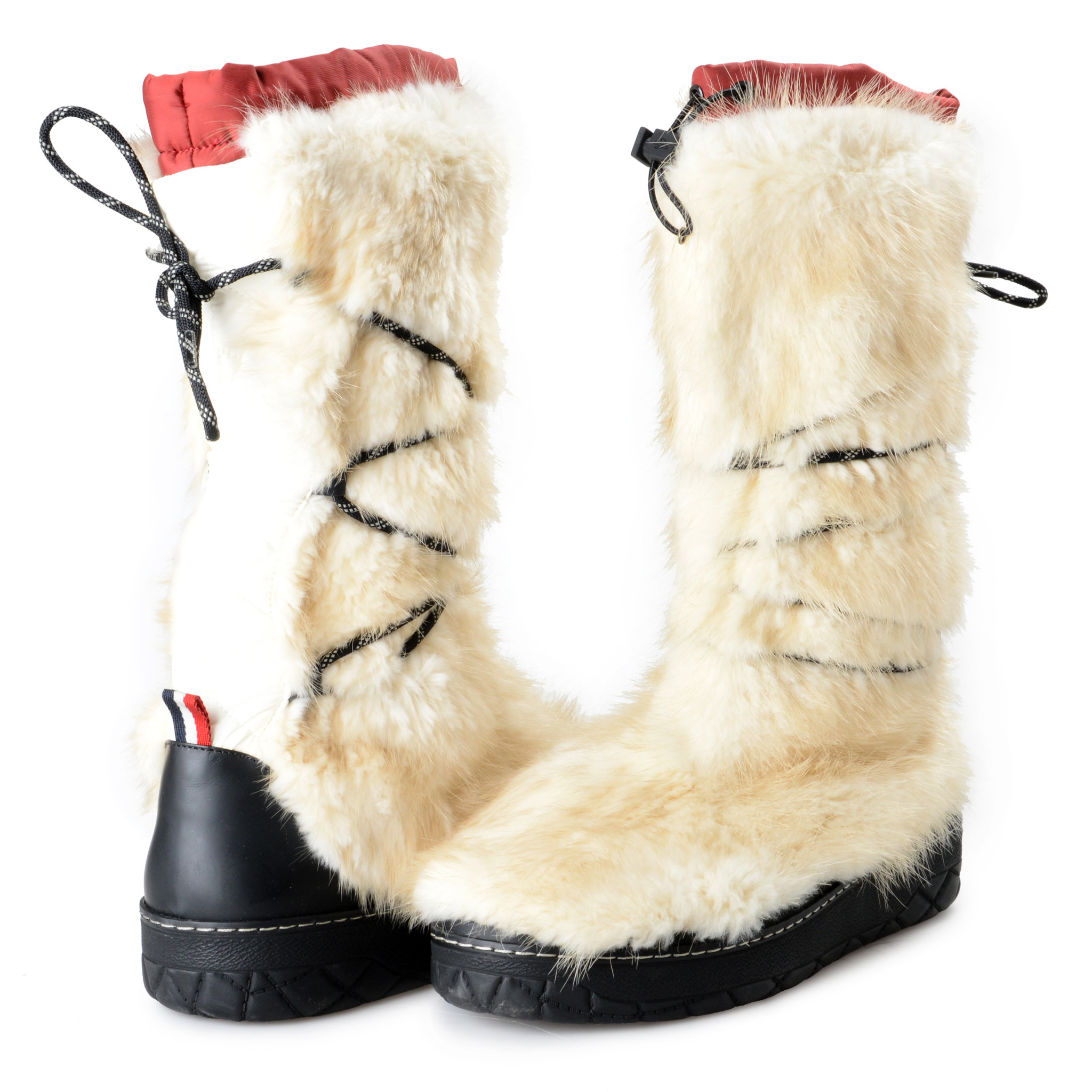 MONCLER MEN'S OFF White Leather & Real Fur Snow Boots Shoes