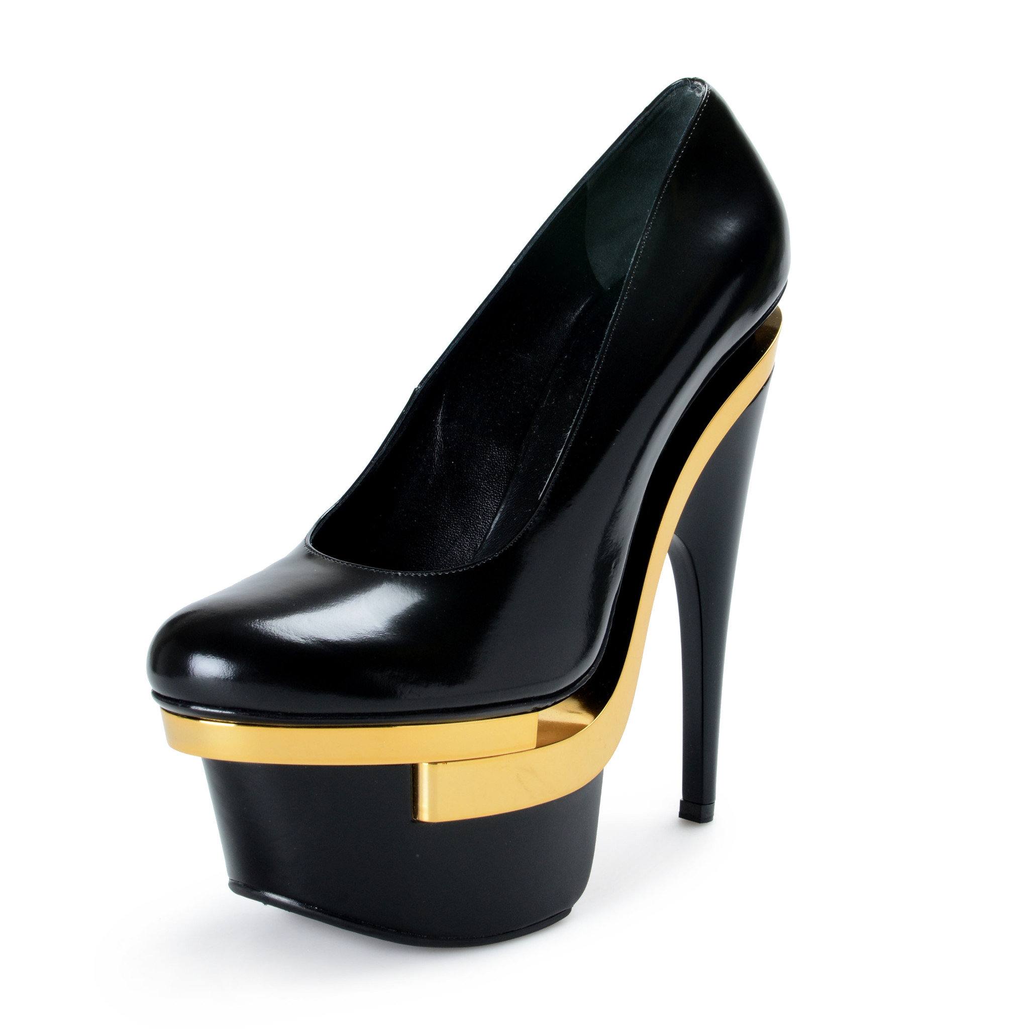 22fca69926 Details about Versace Women's Black Leather High Heel Platform Pumps Shoes  US 10 IT 40