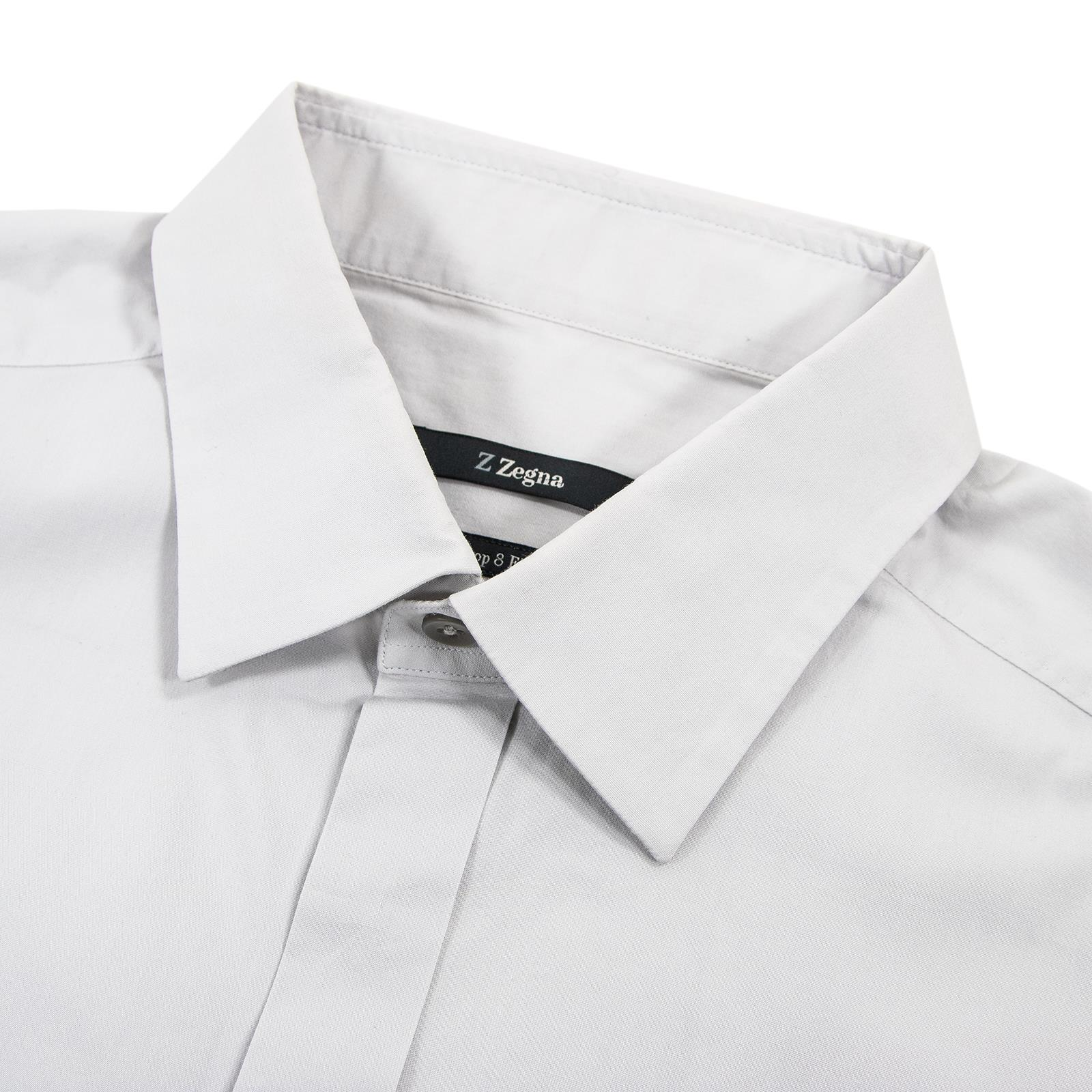 29a4ea8d3c Details about Z Zegna Drop 8 Fit Cloud Grey Cotton Semi-Spread Dress Shirt  41EU/16US
