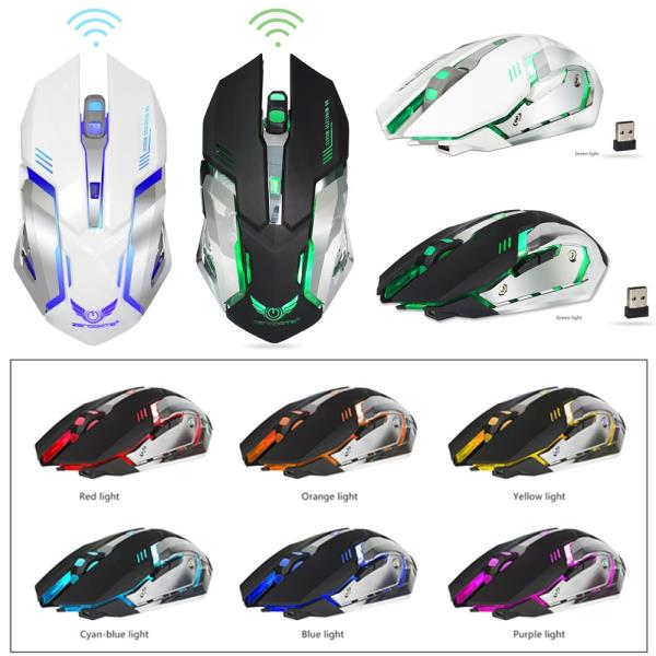 2400 DPI Rechargeable Wireless Silent LED Backlit USB Optical Gaming Mouse Mice