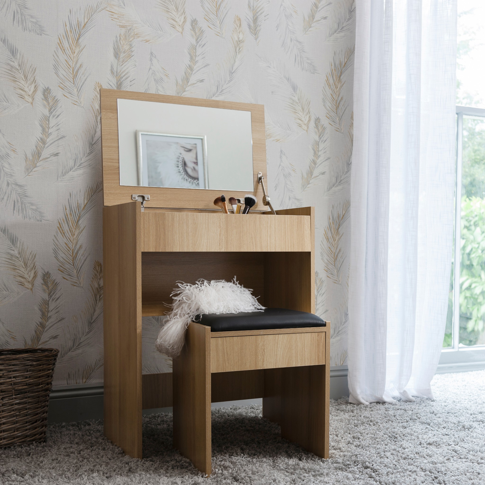 Compact White Dressing Table Vanity Desk With Flip Up Mirror And