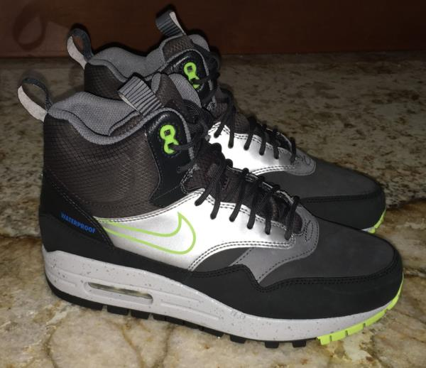 NIKE Air Max 1 Mid Black Dark Grey Volt Sneakerboot Lifestyle Shoes NEW Womens 7 | eBay