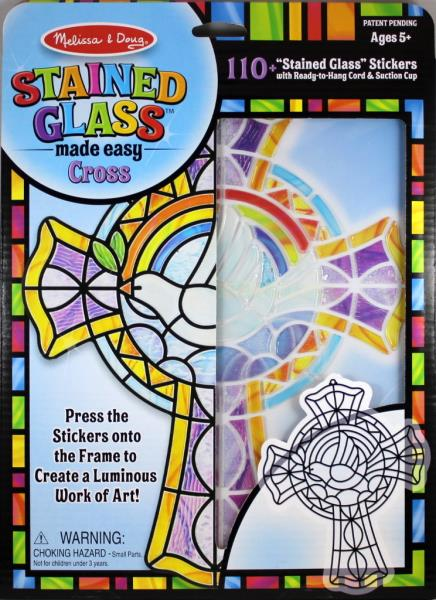 cross frame stained glass light catcher press peel stickers arts