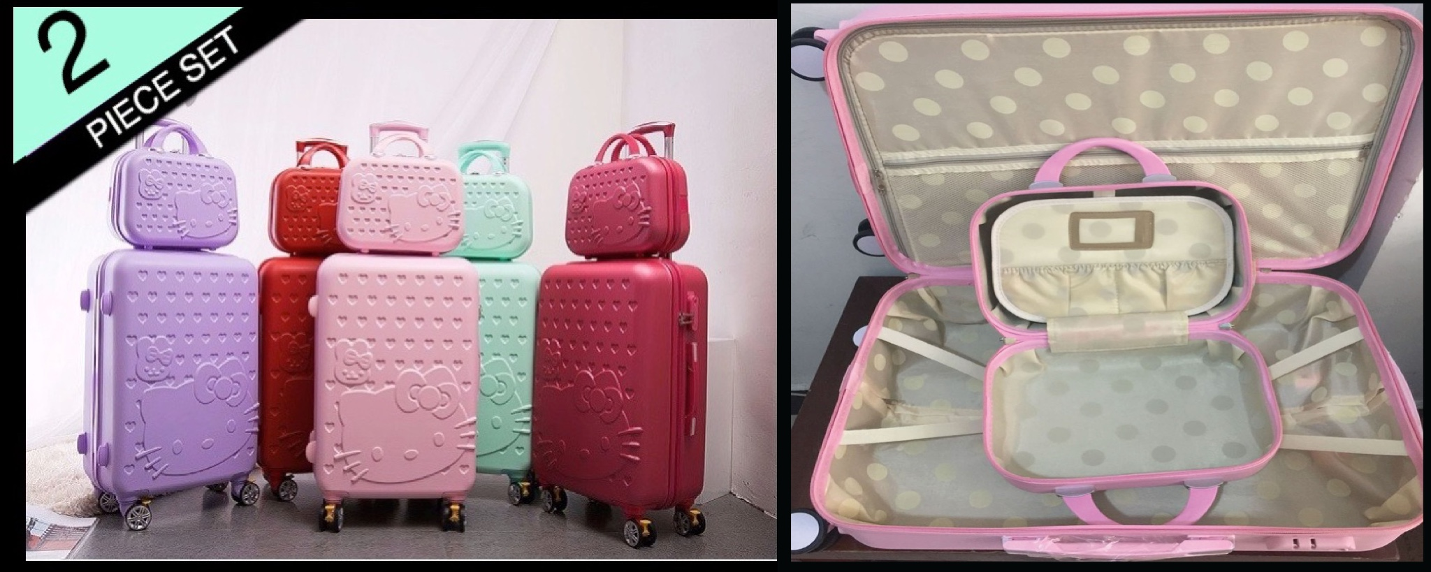 f03a1ca3c3 Details about Luggage Travel Suitcase Hello Kitty Trolley Wheels 20