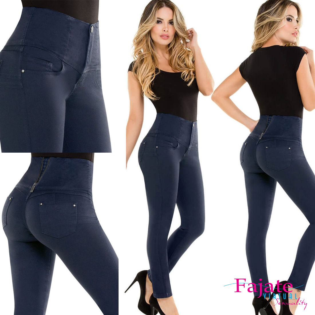 Colombian High Waistband Push Up Jeans Levanta Cola Butt ...