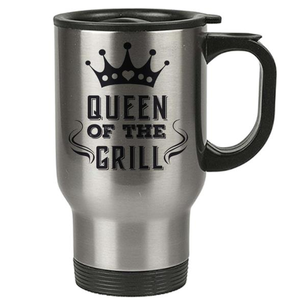Details About Travel Mug Queen Of The Grill Stainless Steel Mom Sister Aunt Quotations Show Original Title