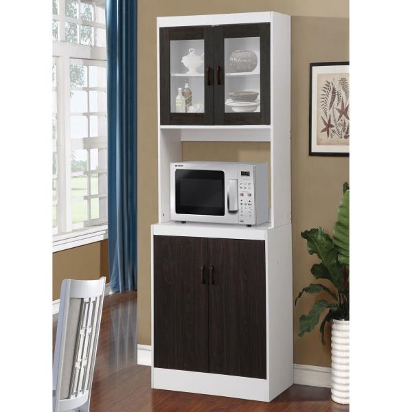 Black Wooden Tall Microwave Kitchen Storage Cabinet Cupboard Pantry