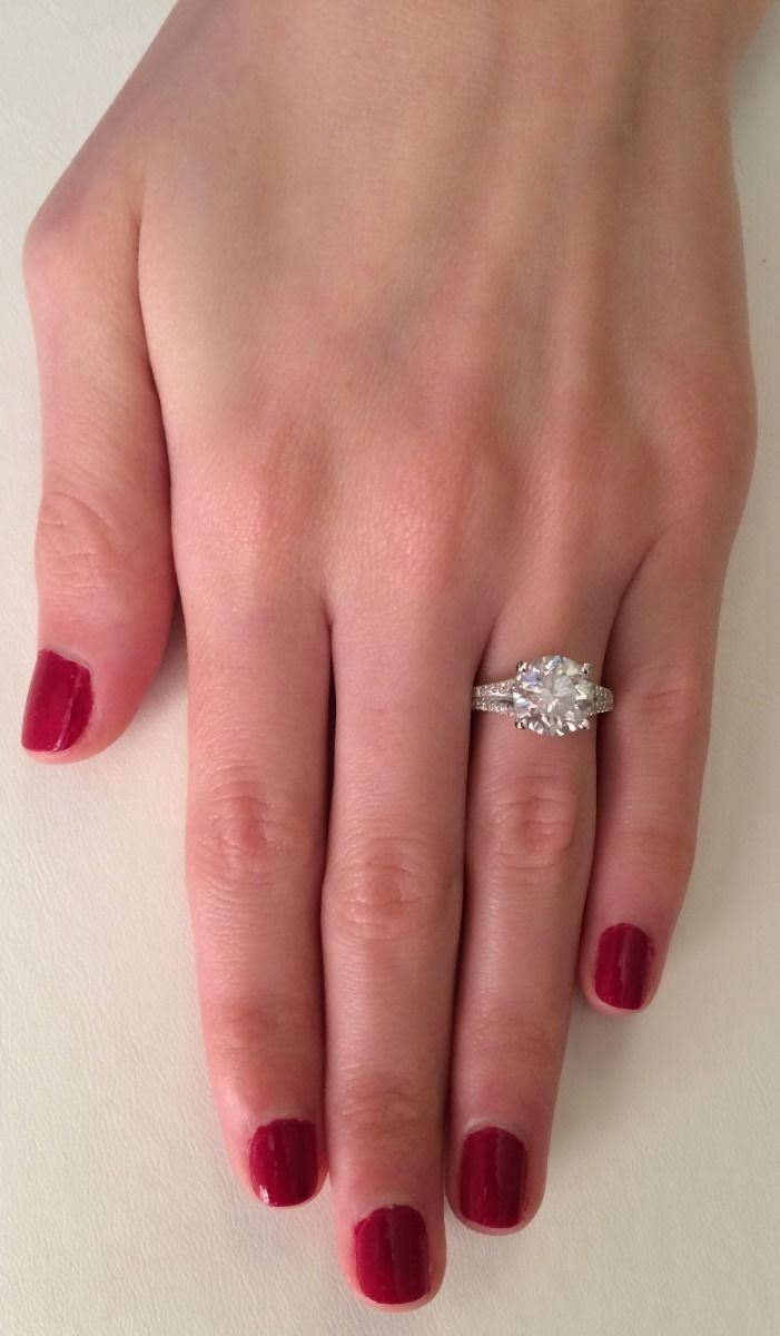 Real 4.00 ct SI1/D Diamond Solitaire Engagement Ring Split Shank 14K ...