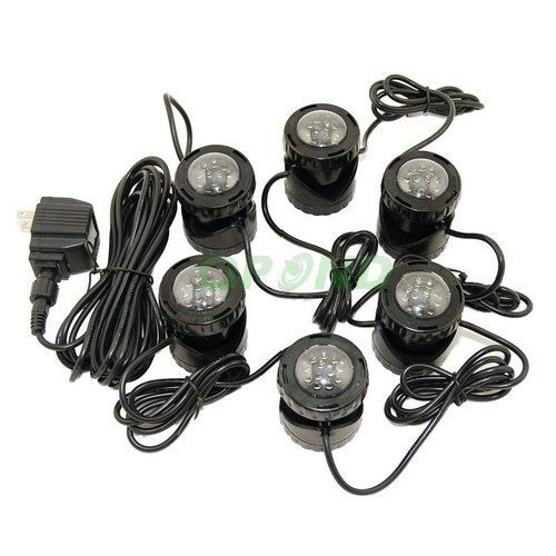submersible 6 led pond light set for underwater fountain fish pond