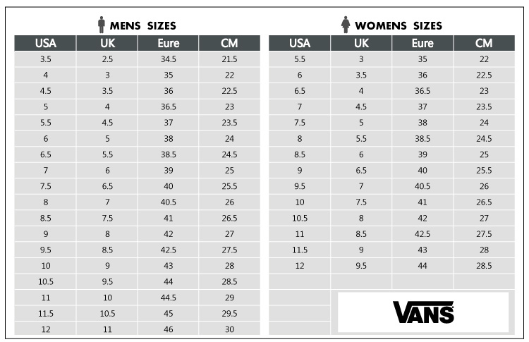 Vans Shoes Size Chart Us To Uk