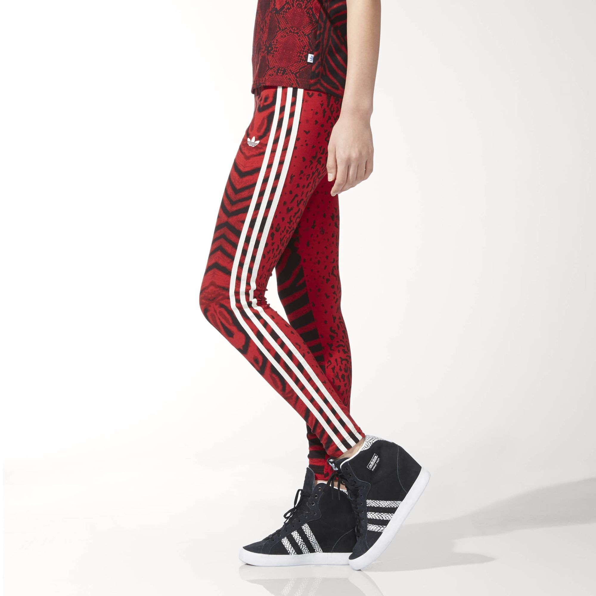 7f3ba5d4e4cab adidas Originals Womens Red Clash 3 Stripe Trefoil Tight Leggings   AC2111.  All sizes listed are UK. See sizing tab below for conversions.