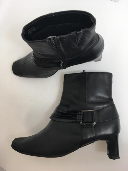 Details about K By Clarks Black Ankle Leather Boots Size 5.5E