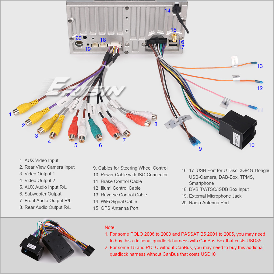 Car Dvd Android 80 For Passat Peugeot Golf Seat Mk4 T4 T5 Ibiza Obd Jack Antenna Wiring Diagram Support Digital Tv Box Dvb T T2 Atsc Isdb Input Touch Control And Power Supply Rear View Camera Reverse Trigger
