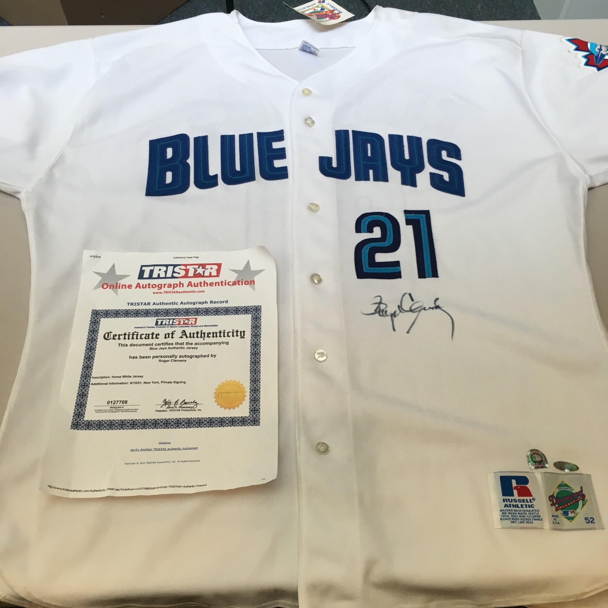 fcc8525a Roger Clemens Signed Authentic Toronto Blue Jays Jersey MLB ...