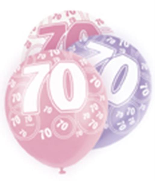 Pink Glitz Age 70 70th Birthday Party Balloons Banner Decorations Choose Required Item 6 X 12 Latex Suitable For Air Or Helium9ft Foil Banner18