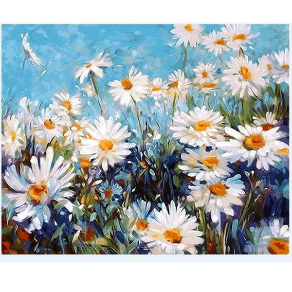 1pc white flower oil painting by numbers wall pictures for living style traditional chinese frame no medium oil support base canvas form flat technics hand painted model number oil painting by numbers mightylinksfo