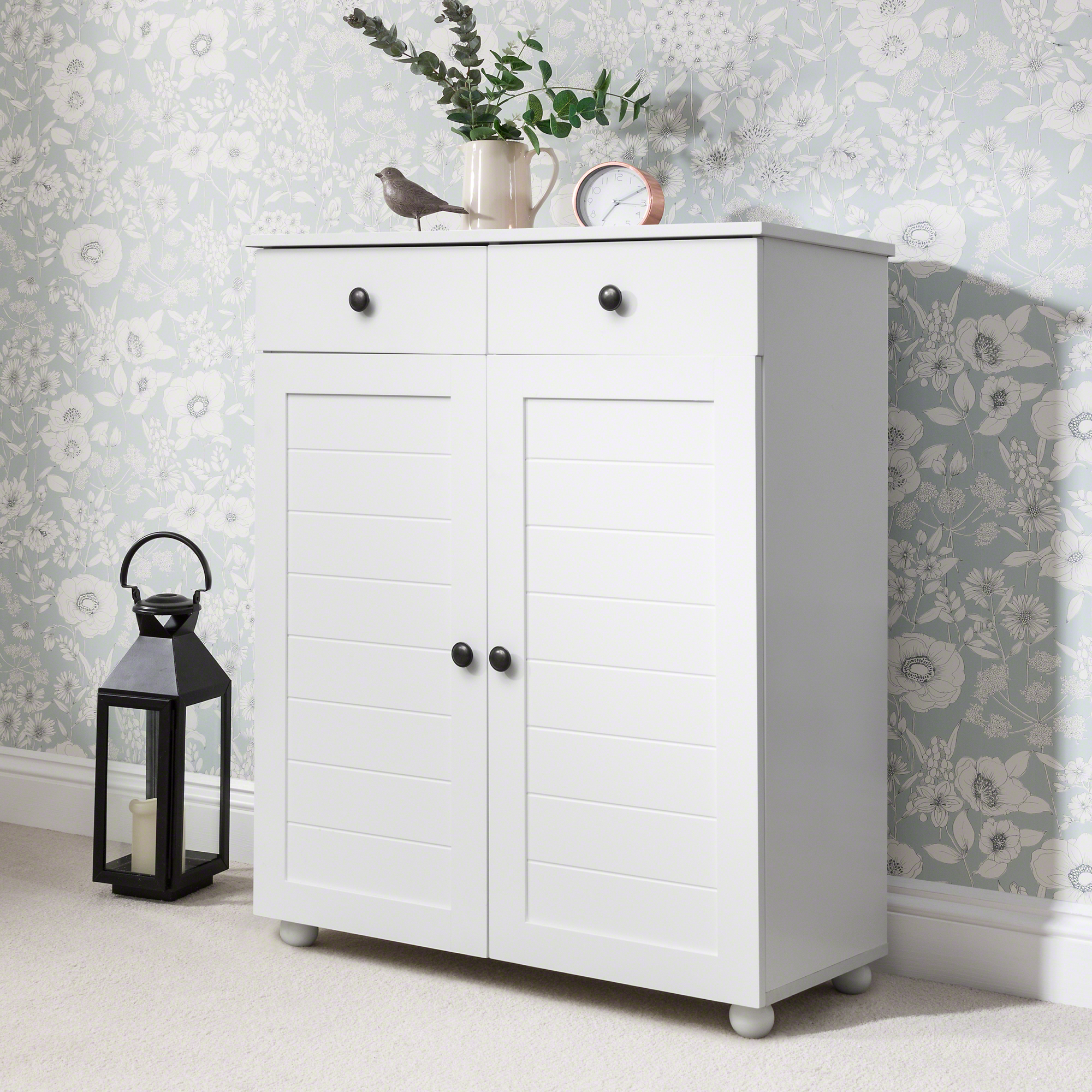 Laura James Shoe Storage Cabinet With Storage Drawers In White