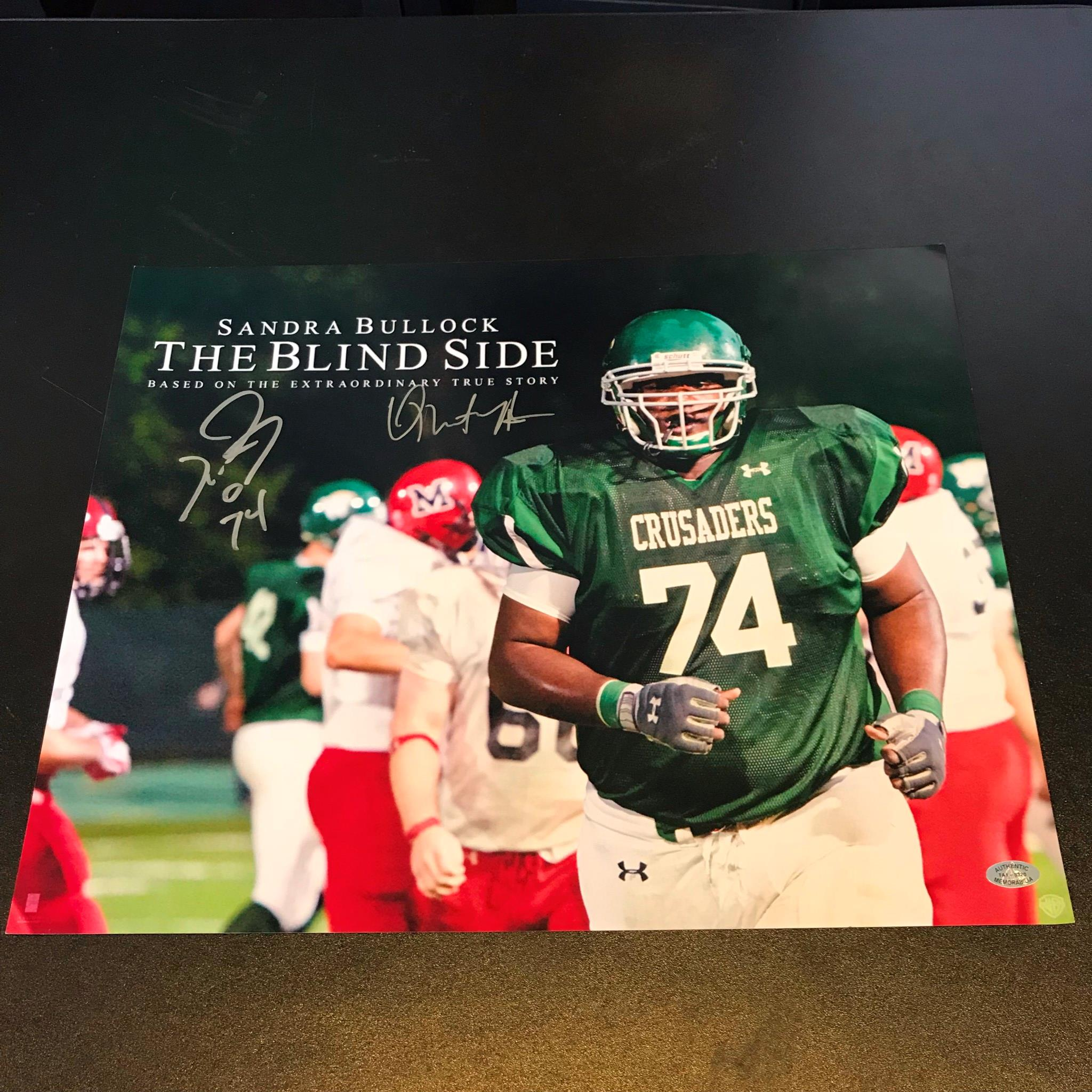 the blind side true story michael oher michael oher quinton aaron signed x the blind side movie photo