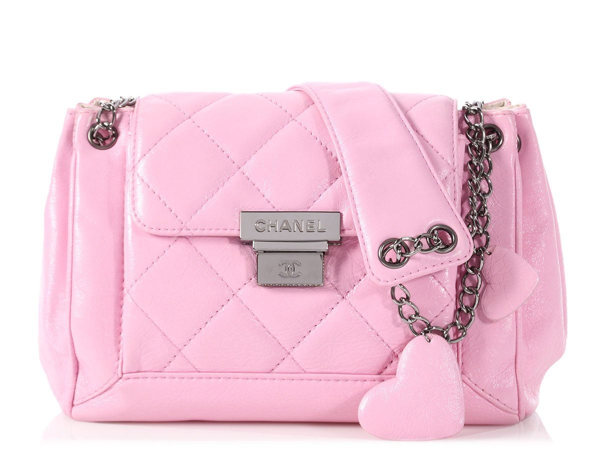 bf0bdc9d50d86 CHANEL Pink Part-Quilted Shiny Calfskin Accordion Flap Bag Purse EUC ...