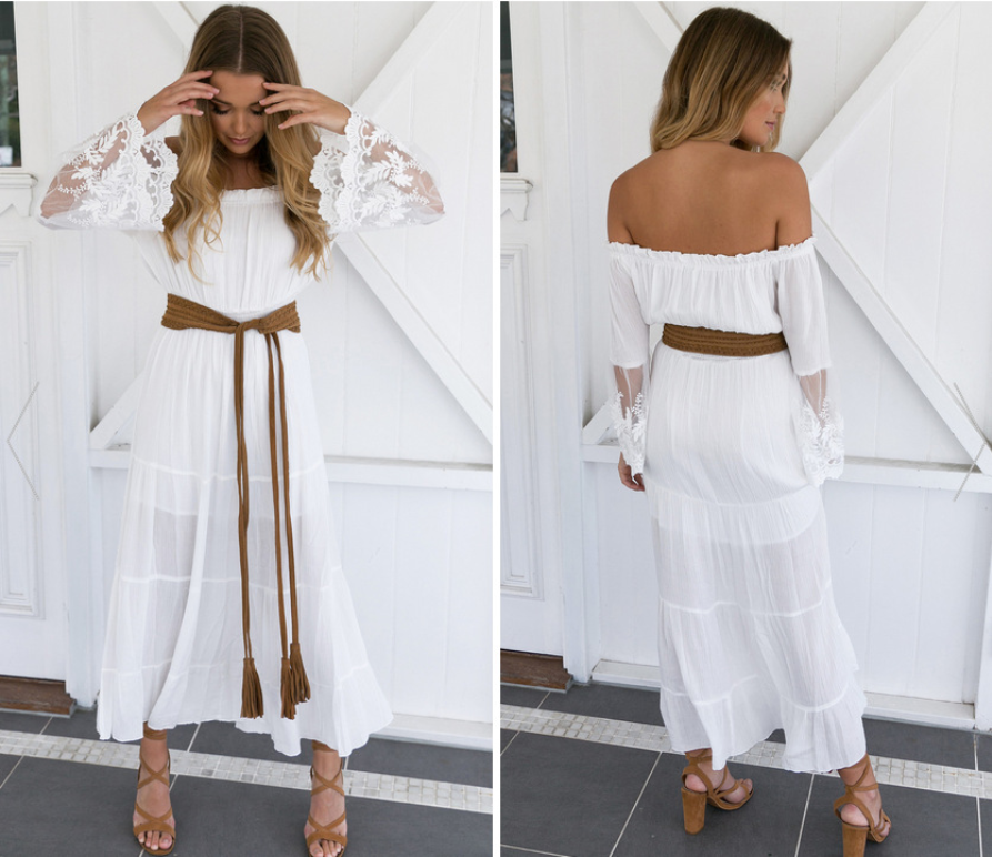 ca86486ff12c Details about White Boho Crochet Bell Sleeves Off Shoulder Maxi Long Dress