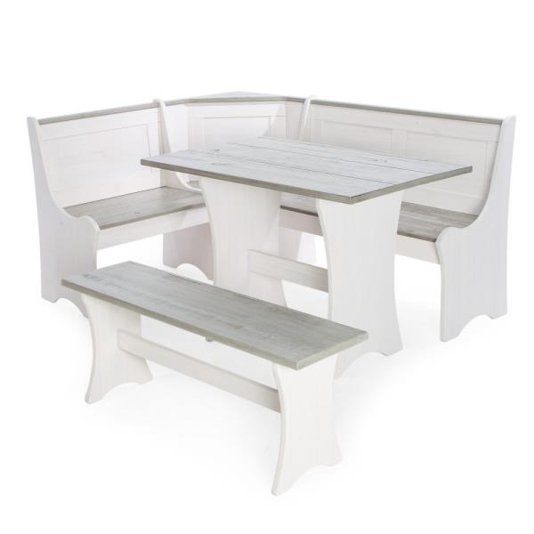 Attrayant 3 Pc White Gray Top Breakfast Nook Dining Set Corner Booth Bench Kitchen  Table