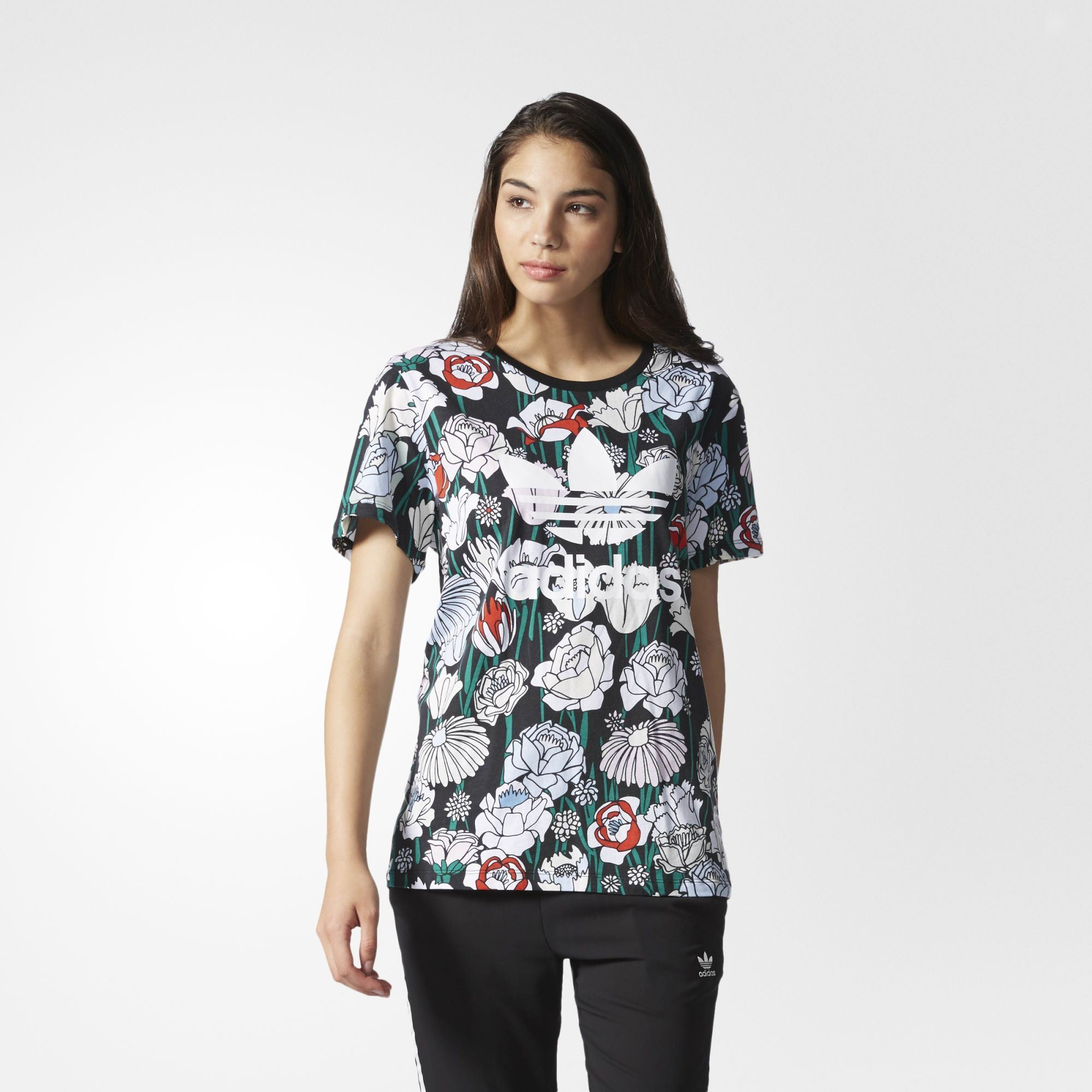 83a3c256 adidas Originals Women's Floral Boyfriend T-Shirt Top Tee Trefoil | AY7940.  All sizes listed are UK. See sizing tab below for conversions.
