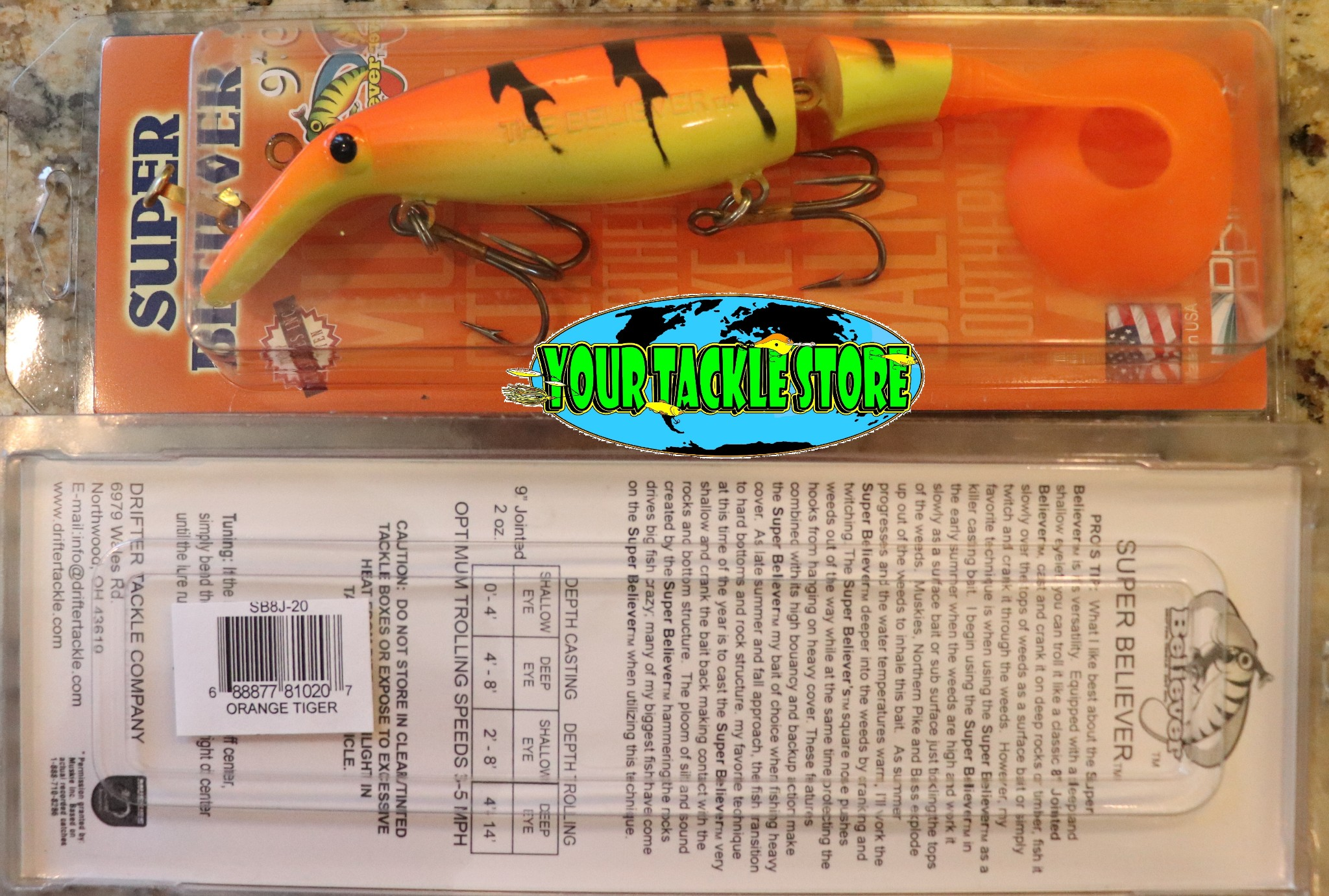 """Drifter Tackle Believer 8/"""" 800J or Super 9/"""" SB8J You Pick Color /& Qty Musky Pike"""
