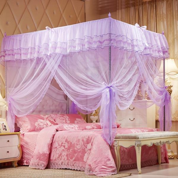 Purple Ruffled 4 Post Bed Canopy Netting Curtains Sheer