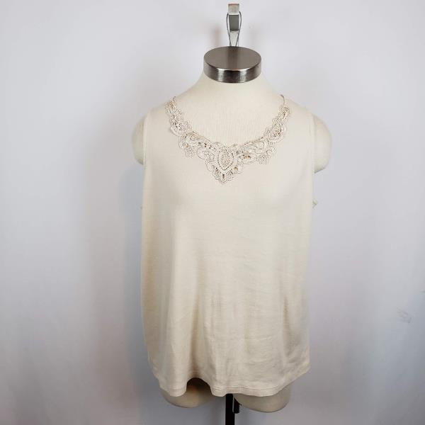 96e1c14737196 White Stag Womens Tank Top Plus Sz Scoop Neck Lace Trim Cotton Beige ...