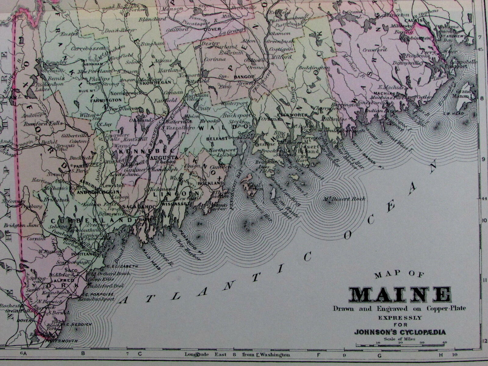 Maine counties towns Portland Kennebunkport c 1890 Johnson