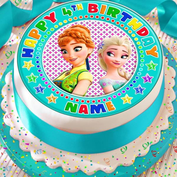 Frozen Fever Personalised Blue Elsa Anna Precut Edible Birthday Cake