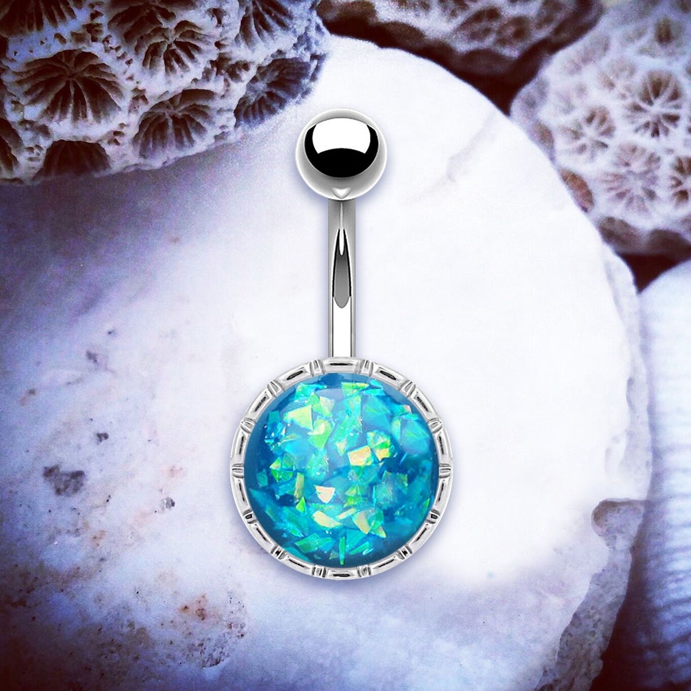 Details About Orla Blue Opal Belly Bar Faux Opal Belly Ring Silver Navel Ring Festival Rings