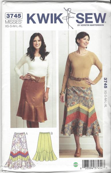 Uncut Kwik Sew 3745 Sewing Pattern Misses Pull On Panel Skirt Sz Xs