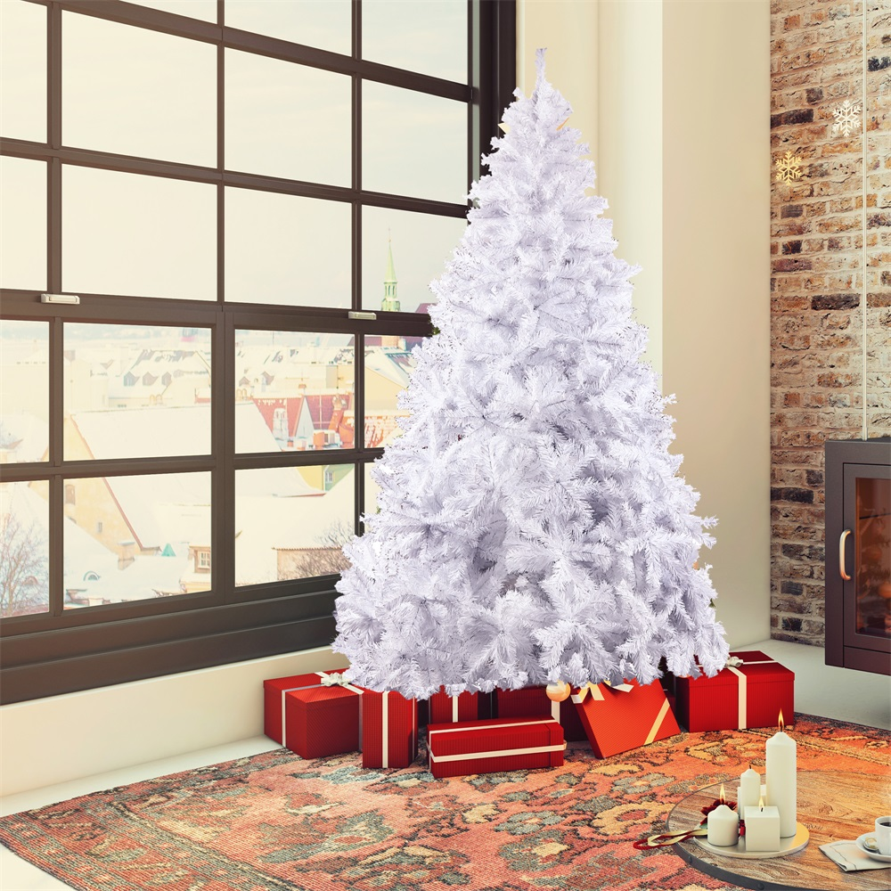 8 Ft White Green Artificial Christmas Tree Decorated Pine