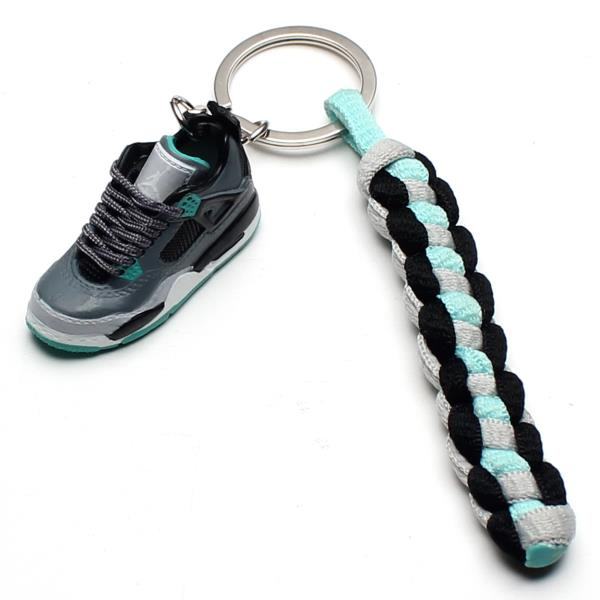 finest selection d6706 7ecf1 Details about 3D Mini Sneaker Shoes Keychain Retro Green Glow With Strings  for Air Jordan 4
