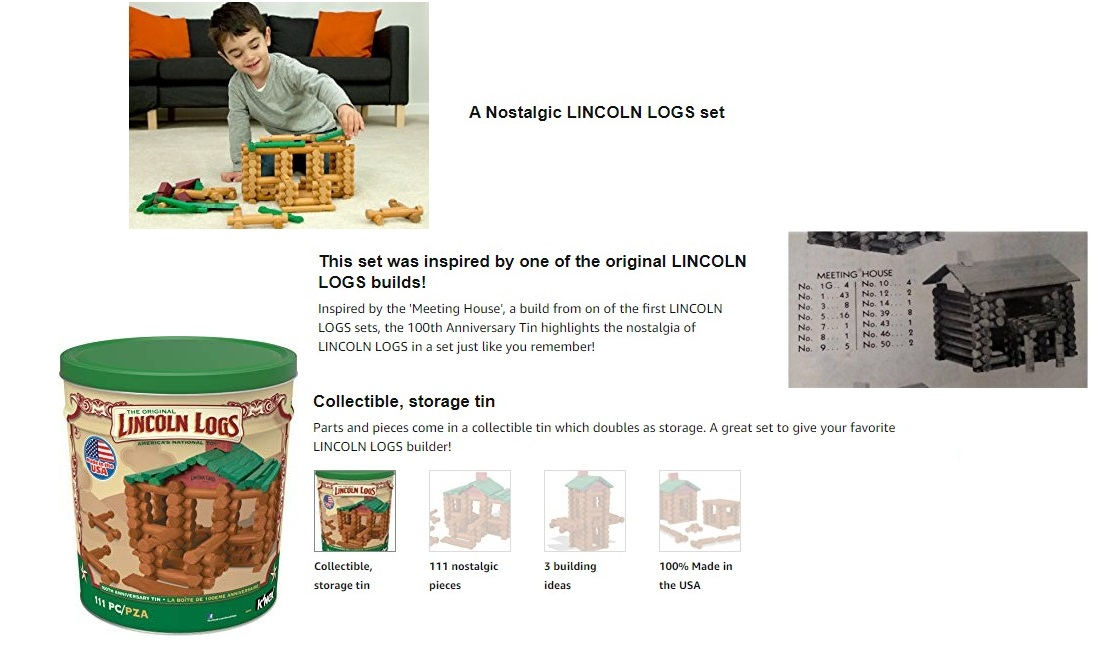 Ages 3+ LINCOLN LOGS 111 All-Wood Pieces 100th Anniversary Tin