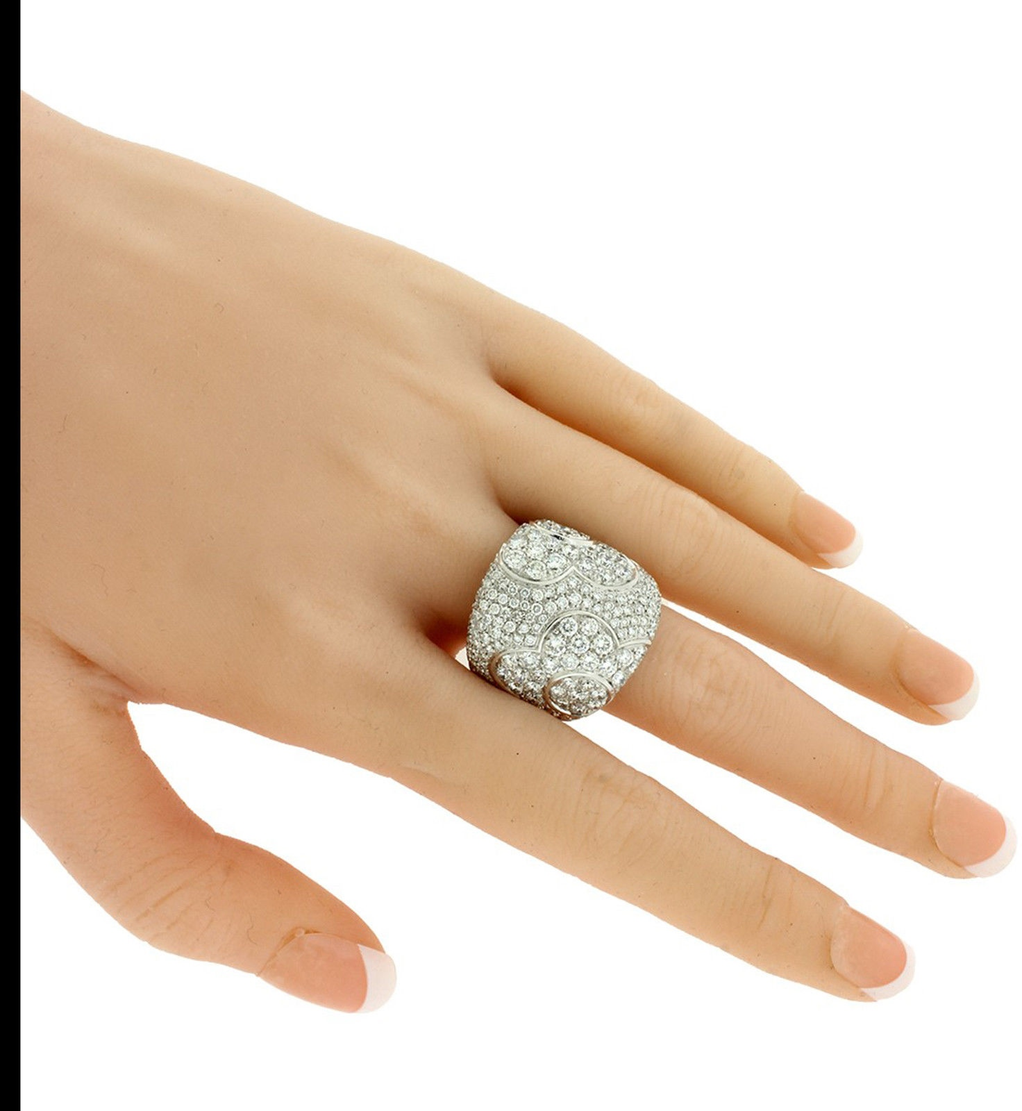 Pasquale Bruni Large Womens Pave Diamond Flower Ring In 18k White