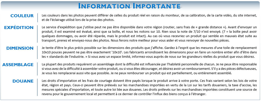 Information Importante (Grand Format)